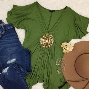 Fern Green Venus Plunge Gold Beaded Knit Blouse